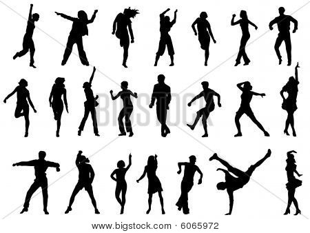 Dancing people in action vector illustration