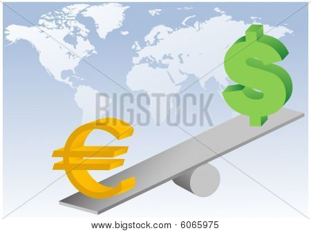 Euro and dollar symbols on seesaw vector illustration
