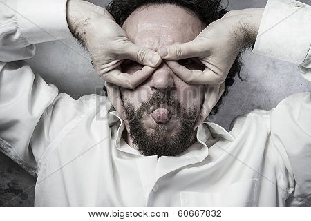 hands as a mask, man in white shirt with funny expressions