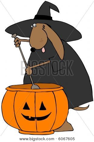 This illustration depicts a dog in a witch costume stirring a large cauldron shaped like a jack-o-lantern. poster