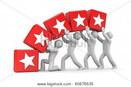 5 gold stars. Teamwork metaphor