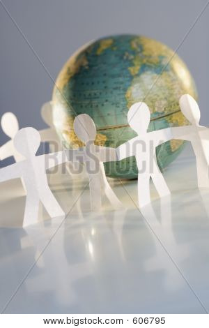 Cutout People And Globe