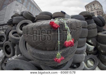 Flowers in honer of heroes killed on barricades in Kiev.