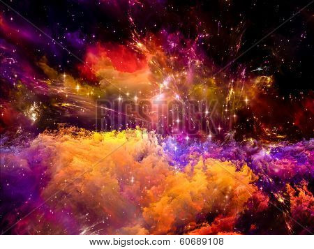 Universe Is Not Enough series. Abstract composition of fractal elements lights and textures suitable as design element in projects on fantasy science religion and design poster