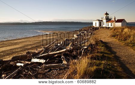 Discovery Park West Point Lighthouse Puget Sound Seattle Nautical Scene
