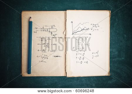 Math functions and thermodynamics calculations in old book poster