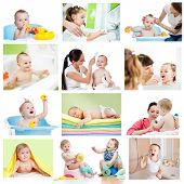 Collection of babies or kids at bath-time. Hygiene concept for little children. poster