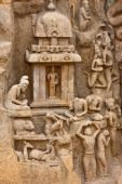 Detail from the Arjuna's Penance (or Descent of the Ganges) bas-relief in Mahabalipuram India. poster