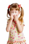 child girl wiping or cleaning nose with tissue isolated on white poster