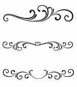 Vector scroll page ornaments for page dividers or line rules or logo flourishes poster