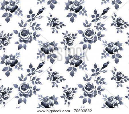 Watercolor seamless pattern with rose branches.