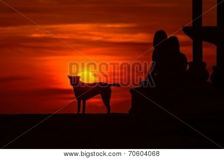 Silhouette of people and dog against rising sun poster