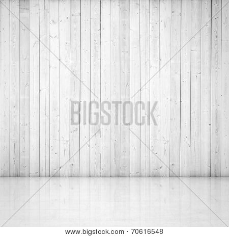 White wood wall and concrete floor