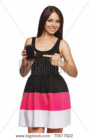 Woman showing mobile cell phone with black screen