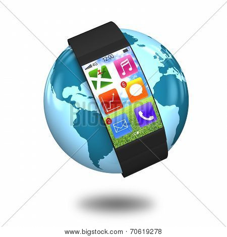 Ultra-thin Curved-screen Smart Watch With Apps On Globe