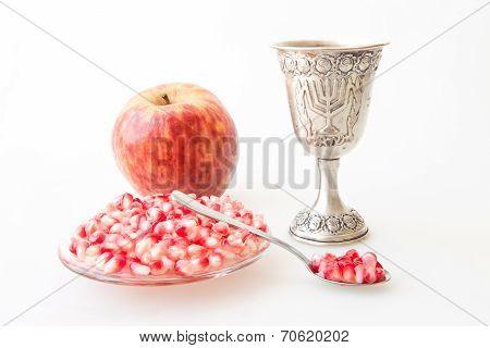 Rosh hashana Kiddush cup pomegranate and apple