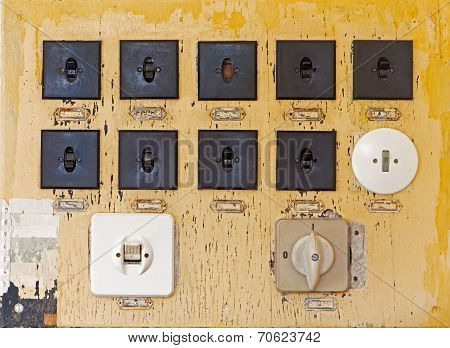 Old Electric Switches On The Wall