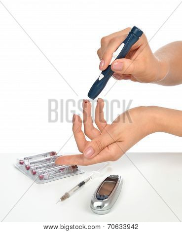 Diabetes Diabetic Concept Finger Prick Measuring Level Blood Test