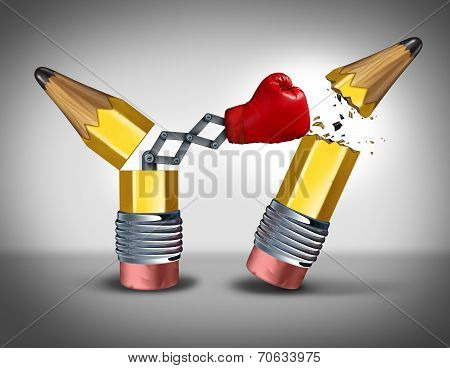 Strategic planning business concept as an open pencil with a boxing glove breaking out destroying the competition as a metaphor for a ruthless war of ideas and intelligent innovative thinking with no pity for the enemy. poster