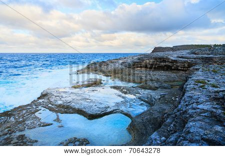 Natural baths at rocky coast of Eleuthera island, Bahamas poster