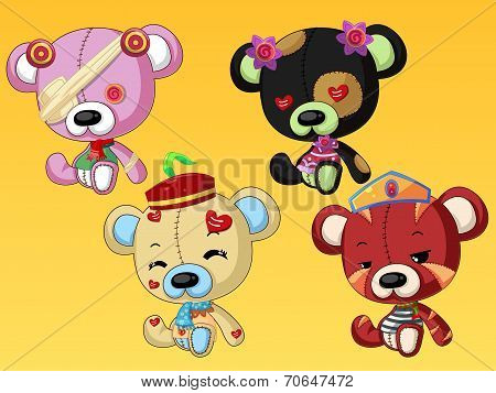 Cute bear dolls with accessories like hat, glasses and clothes poster