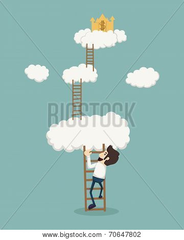 Businessman On A Ladder Above The Clouds Looking Golden Castle
