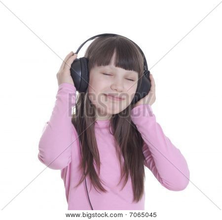 The Smile Little Girl In Headphones