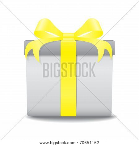 White Gift Box With A Yellow Bow Vector On White Background