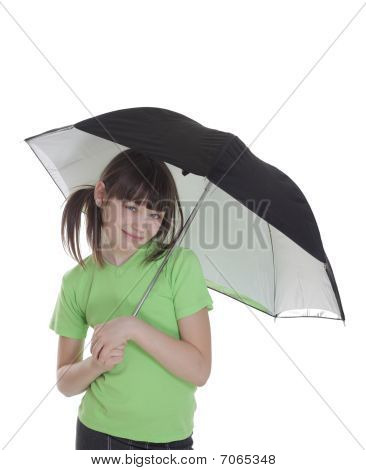 The Smile Little Girl With Umbrella