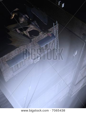 poster of Digital render of a dragon keeping watch above the city streets at night, moonlit lighting
