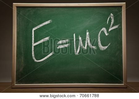 poster of Albert Einsteins physical formula on green blackboard