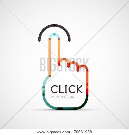 finger click company logo design, business symbol concept, minimal line style