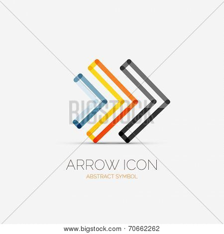 right arrows company logo design, business symbol concept, minimal line style poster