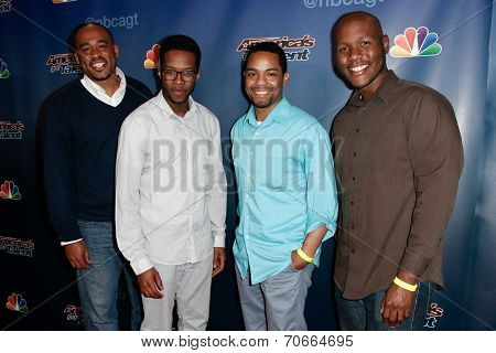 NEW YORK-AUG 20: Musical group Sons of Serendip attend the backstage post-show red carpet for NBC's 'America's Got Talent' Season 9 at Radio City Music Hall on August 20, 2014 in New York City.