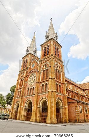 Basilica of Our Lady of The Immaculate Conception or Saigon Notre-Dame Basilica in Ho Chi Minh City, Vietnam. The Cathedral was built by French colonists in 1880.