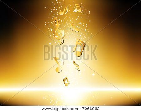 Golden background with music notes and stars.