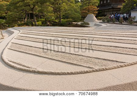 With white sand landscape in Karesansui of Japanese garden  in Ginkakuji Temple, Kyoto.