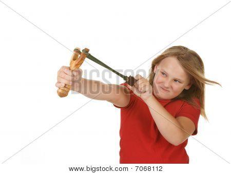 girl with slingshot on white