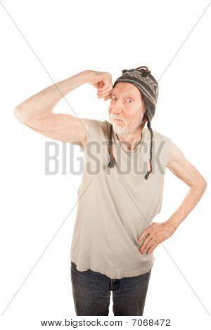 Eccentric Senior Man Flexing His Muscle