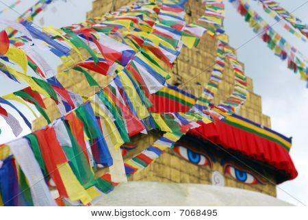 Bodhnath Stuba and Colorful religion streamer in Kathmandu,Nepal