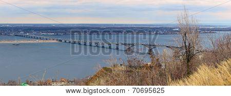 Saratov City. Road Bridge Over River Volga. Russia