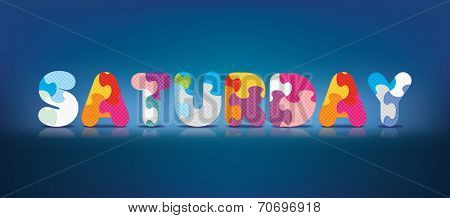 SATURDAY written with alphabet puzzle - vector illustration