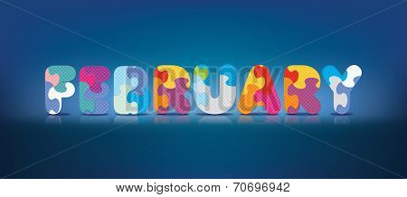 FEBRUARY written with alphabet puzzle - vector illustration