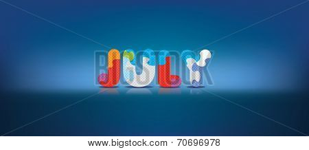 JULY written with alphabet puzzle - vector illustration