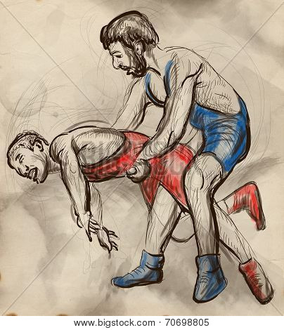 Greco-roman Wrestling. An Full Sized Hand Drawn Illustration