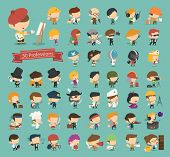 Set of 50 professions eps10 vector format poster