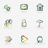 Set of 9 various company logos, business icons. Wifi email home house currency exchange lock security protection umbrella arrow right next heart like social arrow circle round rotation poster