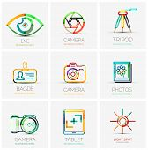collection of 9 company logos, business concepts. Human eye shutter tripod badge name tag camera photo gallery tablet screen flash light spot poster