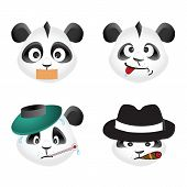 Panda bear emotion icons, vector design elements poster