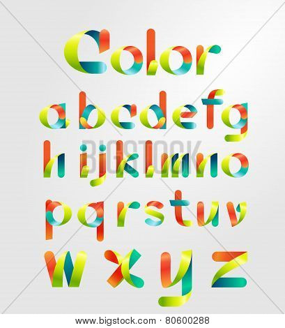 Ribbon alphabet and colorful font.Lowercase a-z